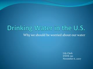 Drinking Water in the U.S.