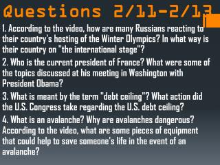 CNN Student News Questions 2/11-2/13