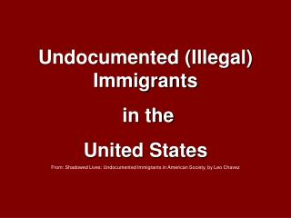 Undocumented (Illegal) Immigrants  in the  United States
