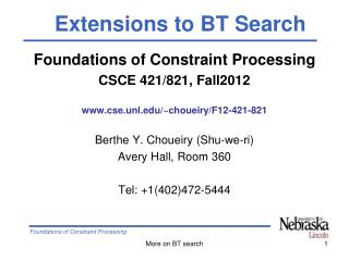 Foundations of Constraint Processing CSCE 421/821, Fall2012 cse.unl/~choueiry/F12-421-821