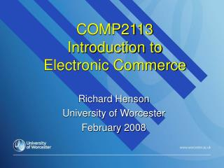COMP2113 Introduction to  Electronic Commerce
