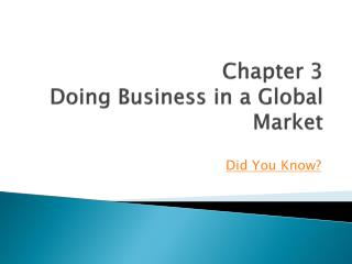 Chapter 3 Doing Business in a Global Market