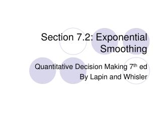 Section 7.2: Exponential Smoothing