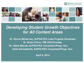 Developing Student Growth Objectives  for All Content Areas