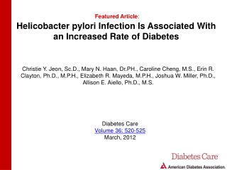 Helicobacter pylori Infection Is Associated With an Increased Rate of Diabetes