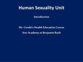 Human Sexuality Unit