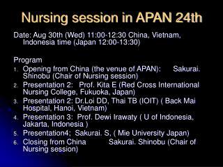 Nursing session in APAN 24th