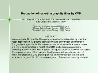 Production of nano-thin graphite films by CVD