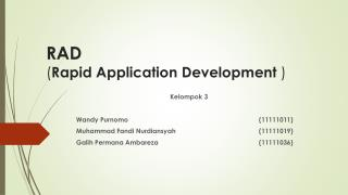 RAD ( Rapid Application  D evelopment  )