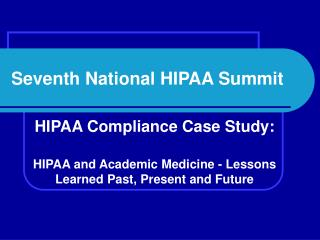Seventh National HIPAA Summit