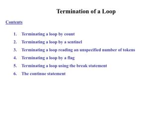 Termination of a Loop