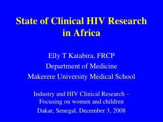 State of Clinical HIV Research in Africa