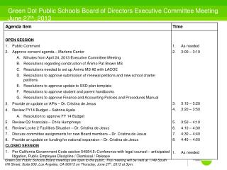 Green Dot Public Schools Board of Directors Executive Committee Meeting June 27 th , 2013