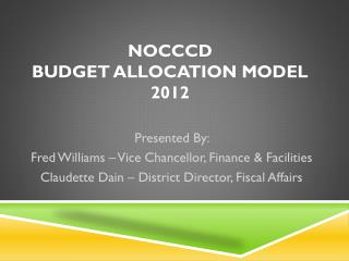 NOCCCD Budget Allocation Model 2012