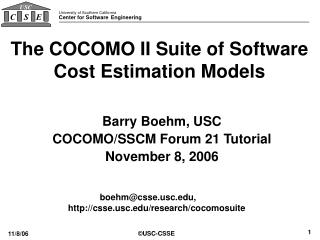 The COCOMO II Suite of Software Cost Estimation Models