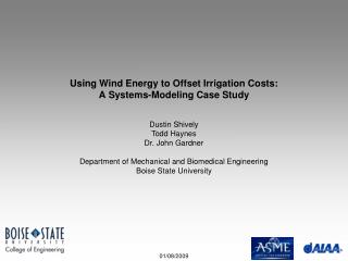 Using Wind Energy to Offset Irrigation Costs: A Systems-Modeling Case Study