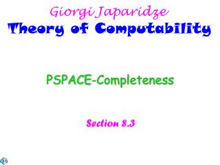 PSPACE-Completeness