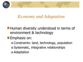Economy and Adaptation