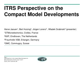ITRS Perspective on the Compact Model Developments