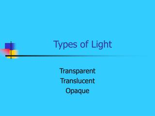 Types of Light