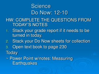 Science Do Now: 12-10