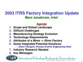 2003 ITRS Factory Integration Update Mani Janakiram, Intel