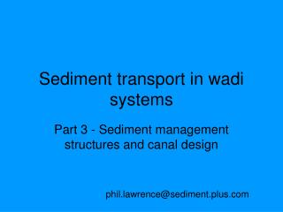 Sediment transport in wadi systems