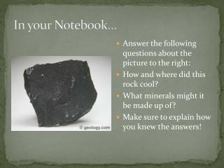 In your Notebook…
