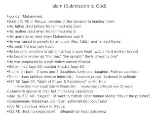 Islam (Submission to God)