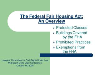 The Federal Fair Housing Act: An Overview