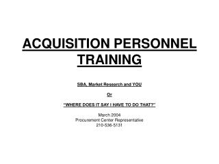ACQUISITION PERSONNEL TRAINING