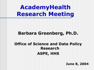 AcademyHealth Research Meeting