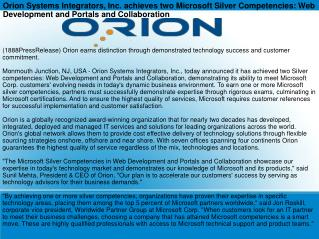 Orion Systems Integrators, Inc. achieves two Microsoft Silve