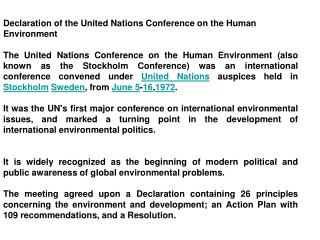 Declaration of the United Nations Conference on the Human Environment