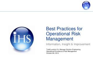 Best Practices for Operational Risk Management