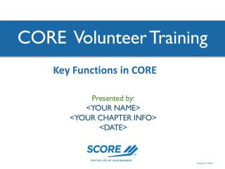 CORE  Volunteer Training