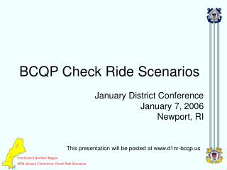BCQP Check Ride Scenarios