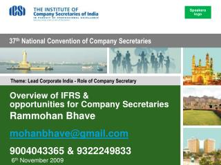Overview of IFRS &  opportunities for Company Secretaries