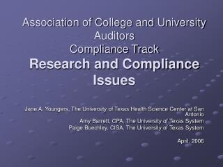 Association of College and University Auditors Compliance Track Research and Compliance Issues