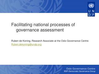 Facilitating national processes of governance assessment