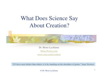 What Does Science Say About Creation?
