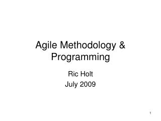 Agile Methodology & Programming