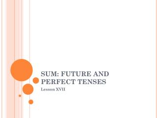 SUM: FUTURE AND PERFECT TENSES