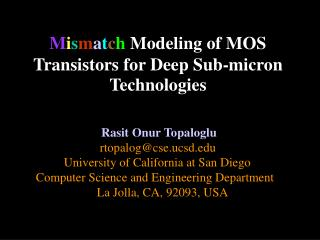 M i s m a t c h  Modeling of MOS Transistors for Deep Sub-micron Technologies