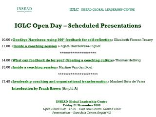 IGLC Open Day – Scheduled Presentations