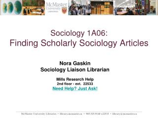 Sociology 1A06: Finding Scholarly Sociology Articles