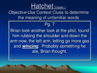 Hatchet  Chapter 1 Objective -Use Context Clues to determine the meaning of unfamiliar words