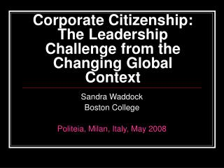 Corporate Citizenship: The Leadership Challenge from the Changing Global Context