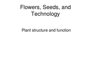 Flowers, Seeds, and Technology