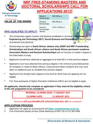 NRF FREE-STANDING MASTERS AND DOCTORAL SCHOLARSHIPS CALL FOR APPLICATIONS 2013 !